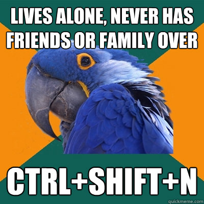 Lives alone, never has friends or family over ctrl+shift+n - Lives alone, never has friends or family over ctrl+shift+n  Paranoid Parrot