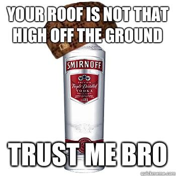 Your roof is not that high off the ground  trust me bro - Your roof is not that high off the ground  trust me bro  Scumbag Alcohol