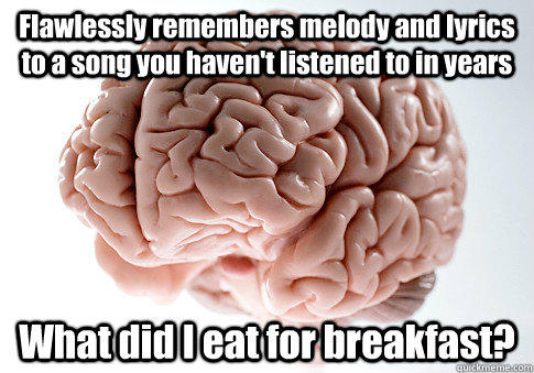 Flawlessly remembers melody and lyrics to a song you haven't listened to in years What did I eat for breakfast?  - Flawlessly remembers melody and lyrics to a song you haven't listened to in years What did I eat for breakfast?   Scumbag Brain