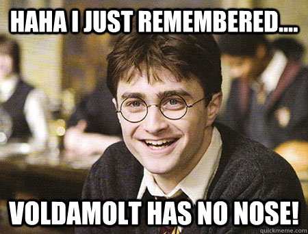 HAHA I JUST REMEMBERED.... VOLDAMOLT HAS NO NOSE!