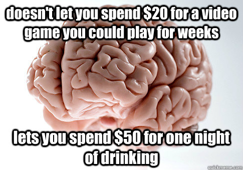 doesn't let you spend $20 for a video game you could play for weeks lets you spend $50 for one night of drinking - doesn't let you spend $20 for a video game you could play for weeks lets you spend $50 for one night of drinking  Scumbag Brain