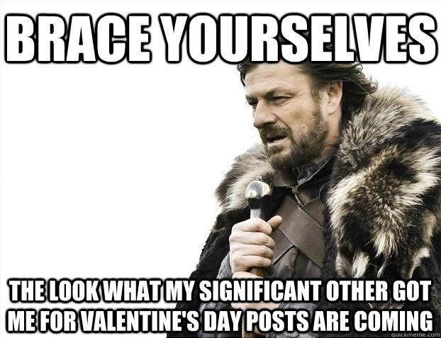 Brace yourselves The Look What My Significant Other Got Me for Valentine's Day Posts are coming