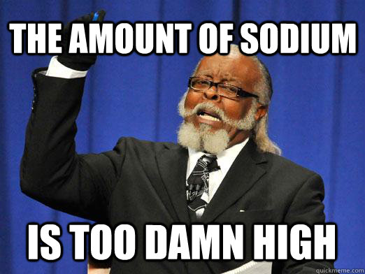 the amount of sodium is too damn high - the amount of sodium is too damn high  Misc