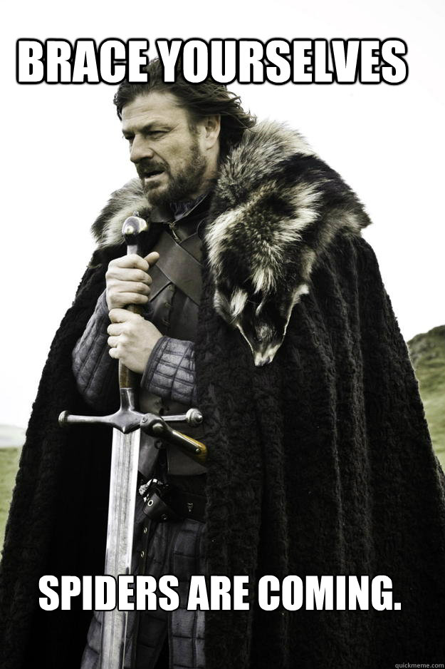 Brace yourselves Spiders are coming. - Brace yourselves Spiders are coming.  WinterisComing