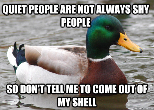 quiet people are not always shy people So don't tell me to come out of my shell - quiet people are not always shy people So don't tell me to come out of my shell  Actual Advice Mallard