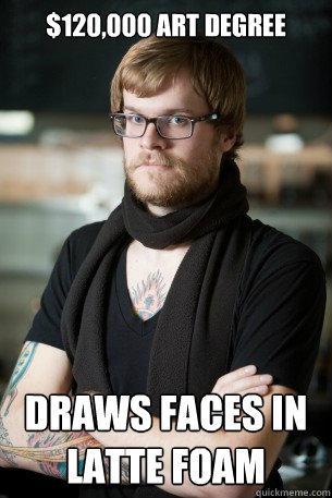 $120,000 art degree draws faces in latte foam - $120,000 art degree draws faces in latte foam  Hipster Barista