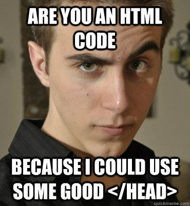 Are you an HTML code  because I could use some good </HEAD> - Are you an HTML code  because I could use some good </HEAD>  Seductive Nerd