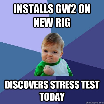 Installs GW2 on new rig Discovers stress test today - Installs GW2 on new rig Discovers stress test today  Success Kid