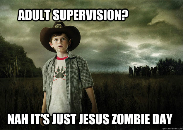 0959f525c59005439d60f6c415e4e86da0b50732d664da4454effd394dd29044 adult supervision? nah it's just jesus zombie day carl grimes