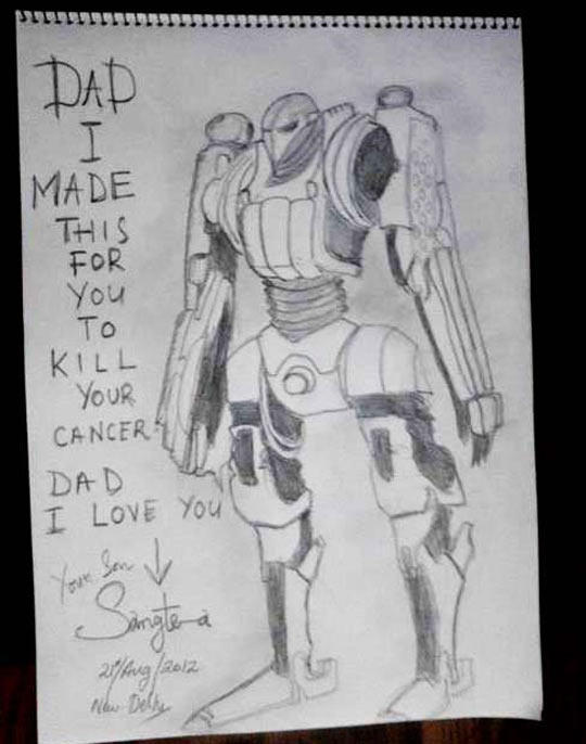 A little kid made this after he found out his dad has cancer… -   Misc