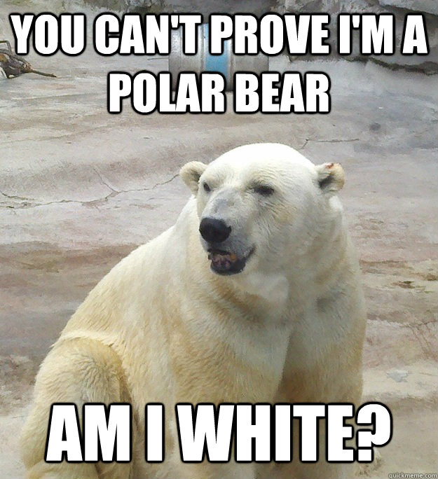 You can't prove I'm a Polar Bear Am I white?  Bad Pun Polar Bear