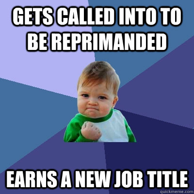 gets called into to be reprimanded earns a new job title - gets called into to be reprimanded earns a new job title  Success Kid