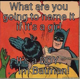 WHAT ARE YOU GOING TO NAME IT IF IT'S A GIRL IT'S A BOY. . . IM BATMAN! Slappin Batman