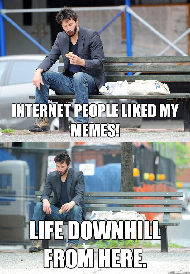 Internet people liked my memes! Life downhill from here.  - Internet people liked my memes! Life downhill from here.   Misc