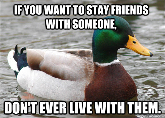 If you want to stay friends with someone, Don't EVER live with them. - If you want to stay friends with someone, Don't EVER live with them.  Actual Advice Mallard