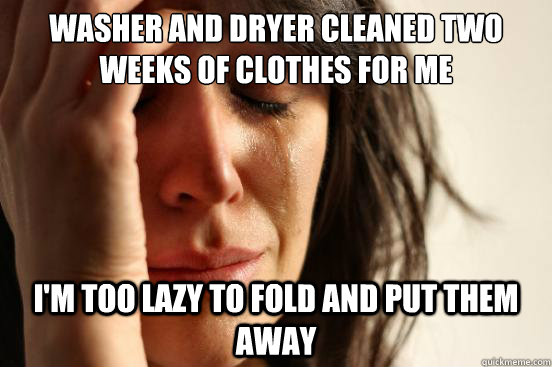 Washer and dryer cleaned two weeks of clothes for me i'm too lazy to fold and put them away - Washer and dryer cleaned two weeks of clothes for me i'm too lazy to fold and put them away  First World Problems