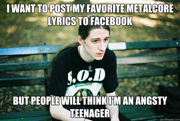 I want to post my favorite metalcore lyrics to facebook But people will think i'm an angsty teenager - I want to post my favorite metalcore lyrics to facebook But people will think i'm an angsty teenager  First World Metal Problems