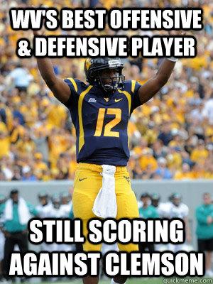 wv's best offensive & defensive player still scoring against clemson  Geno Smith