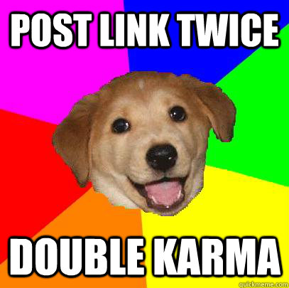 Post link twice double karma - Post link twice double karma  Advice Dog