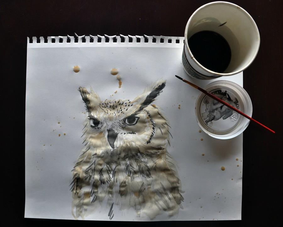 My coffee got cold, so I made an owl with it. -   Misc