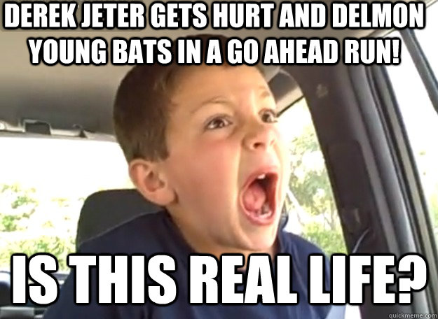 DEREK JETER GETS HURT AND DELMON YOUNG BATS IN A GO AHEAD RUN! IS THIS REAL LIFE?