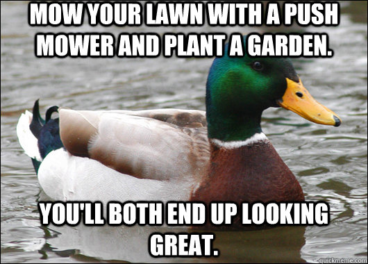 Mow your lawn with a push mower and plant a garden. You'll both end up looking great. - Mow your lawn with a push mower and plant a garden. You'll both end up looking great.  Actual Advice Mallard
