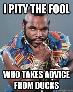 i pity the fool who takes advice from ducks  Mr T