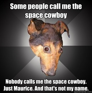 Some people call me the space cowboy Nobody calls me the space cowboy. Just Maurice. And that's not my name.  Depression Dog