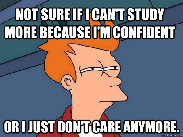 Not sure if I can't study more because I'm confident Or I just don't care anymore. - Not sure if I can't study more because I'm confident Or I just don't care anymore.  Futurama Fry