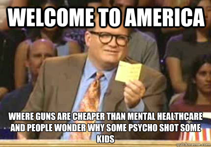 Welcome to America Where guns are cheaper than mental healthcare And people wonder why some psycho shot some kids - Welcome to America Where guns are cheaper than mental healthcare And people wonder why some psycho shot some kids  Misc