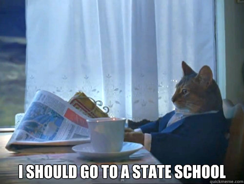 I should go to a state School -  I should go to a state School  The One Percent Cat