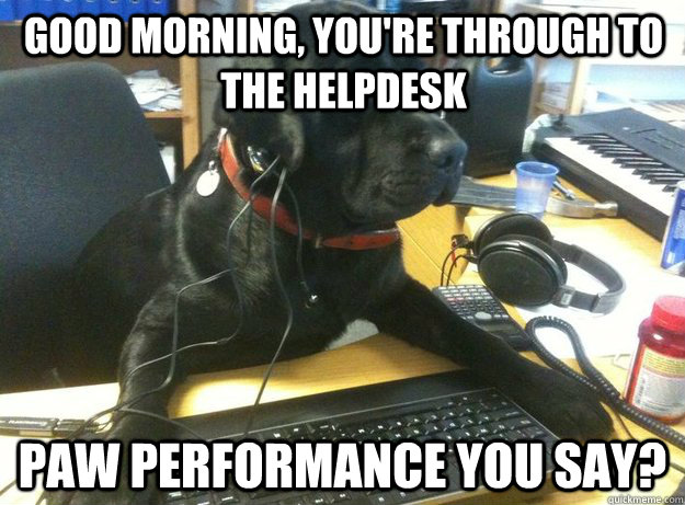 Good morning, you're through to the helpdesk Paw performance you say?
