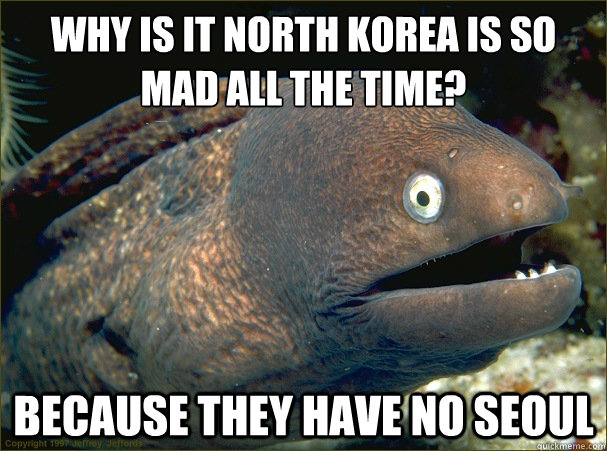 WHY IS IT NORTH KOREA IS SO MAD ALL THE TIME?  BECAUSE THEY HAVE NO SEOUL - WHY IS IT NORTH KOREA IS SO MAD ALL THE TIME?  BECAUSE THEY HAVE NO SEOUL  Bad Joke Eel