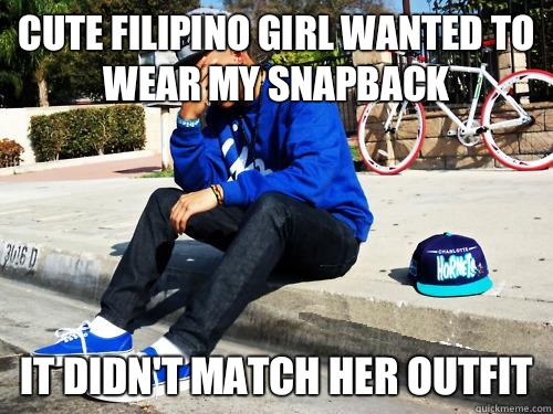 Cute Filipino girl wanted to wear my SnapBack It didn't match her outfit