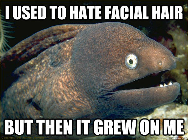I used to hate facial hair but then it grew on me  Bad Joke Eel