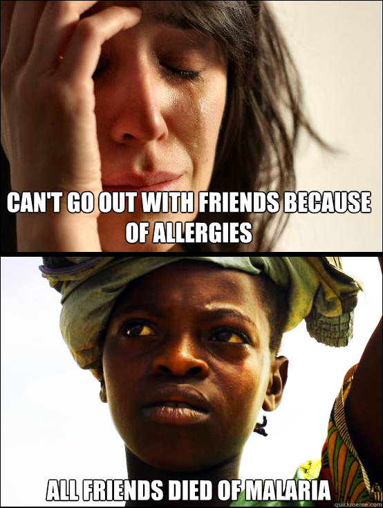 Can't go out with friends because of allergies All friends died of malaria  First vs Third World Problems