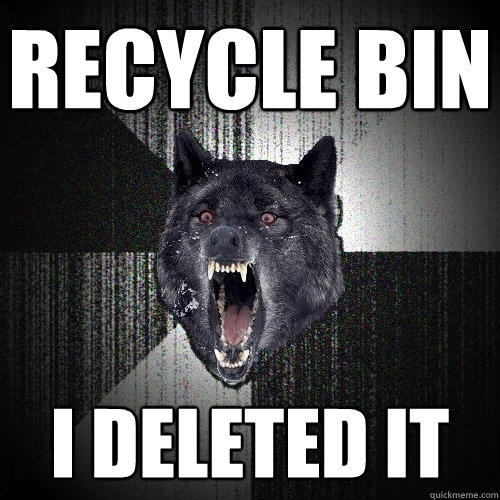 Recycle bin I deleted it - Recycle bin I deleted it  Insanity Wolf