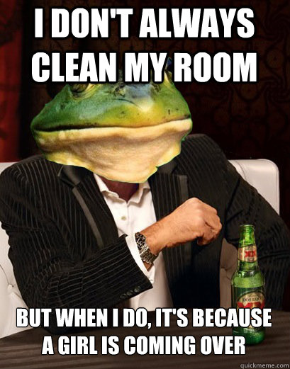 I DON'T ALWAYS CLEAN MY ROOM BUT WHEN I DO, IT'S BECAUSE A GIRL IS COMING OVER - I DON'T ALWAYS CLEAN MY ROOM BUT WHEN I DO, IT'S BECAUSE A GIRL IS COMING OVER  The Most Interesting Bachelor Frog