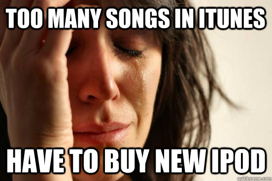 Too many songs in itunes Have to buy new ipod - Too many songs in itunes Have to buy new ipod  First World Problems