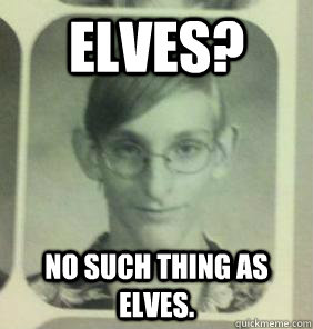 Elves? No such thing as elves.  creepy gamer guy