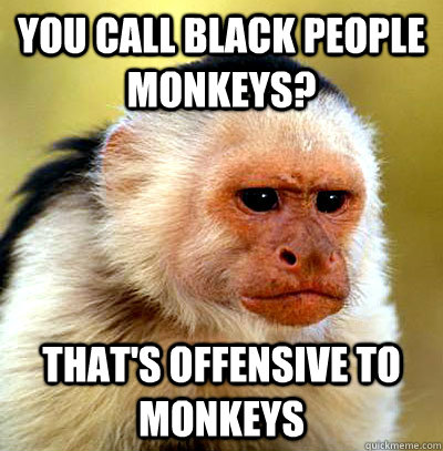 You call black people monkeys? That's offensive to monkeys - You call black people monkeys? That's offensive to monkeys  Misc
