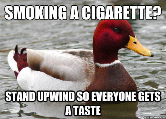 Smoking a cigarette? Stand upwind so everyone gets a taste - Smoking a cigarette? Stand upwind so everyone gets a taste  Malicious Advice Mallard