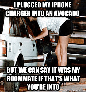 i plugged my iphone charger into an avocado but we can say it was my roommate if that's what you're into - i plugged my iphone charger into an avocado but we can say it was my roommate if that's what you're into  Karma Whore