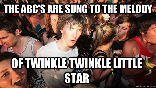 The ABC's are sung to the melody of twinkle twinkle little star - The ABC's are sung to the melody of twinkle twinkle little star  Sudden Clarity Clarence
