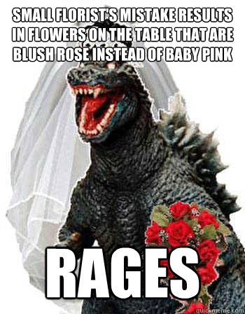 small florist's mistake results in flowers on the table that are blush rose instead of baby pink rages  Bridezilla