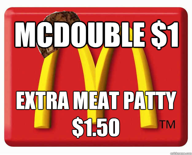 McDouble $1 extra meat patty $1.50