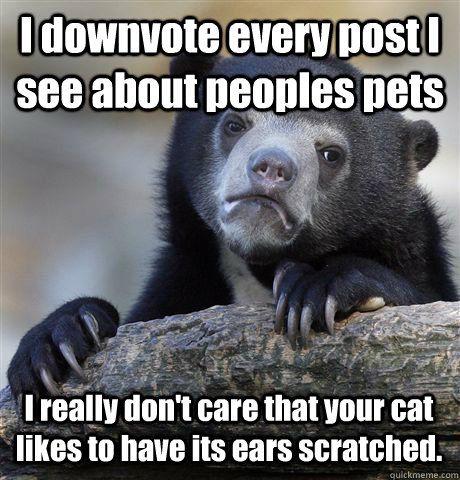 I downvote every post I see about peoples pets I really don't care that your cat likes to have its ears scratched. - I downvote every post I see about peoples pets I really don't care that your cat likes to have its ears scratched.  Confession Bear