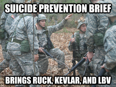 Suicide Prevention Brief Brings Ruck, Kevlar, and LBV