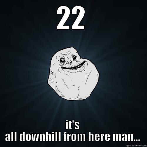 22 IT'S ALL DOWNHILL FROM HERE MAN... Forever Alone
