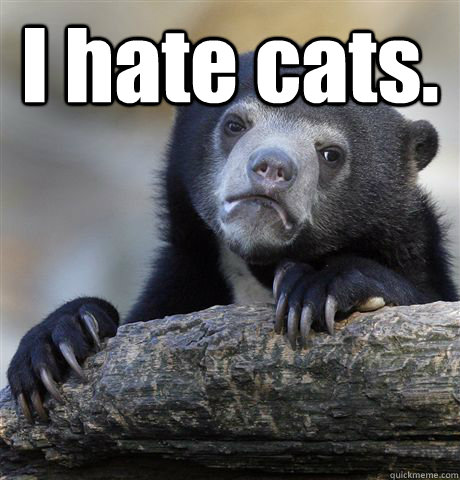 I hate cats.  - I hate cats.   Confession Bear